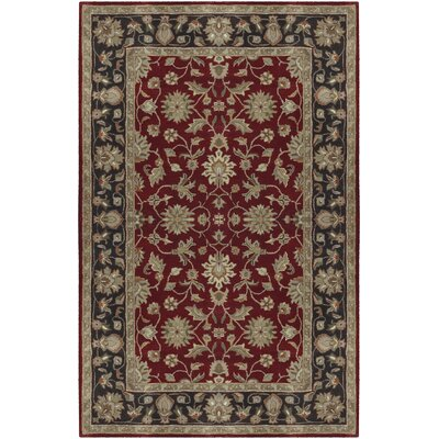 Markeley Hand-Tufted Burgundy Area Rug Rug Size: 5 x 8