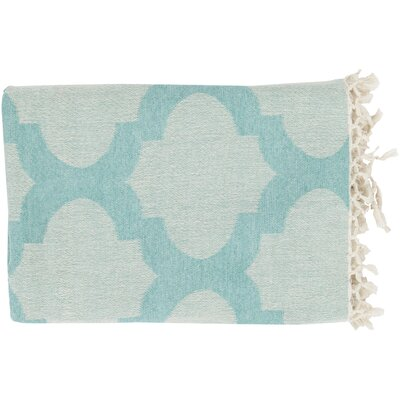 Kemp Throw Blanket Color: Aqua / Ivory