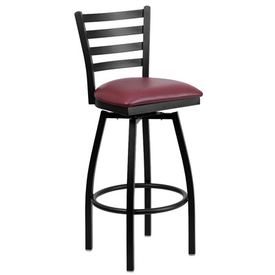 Portland 32 inch Swivel Bar Stool Upholstery: Burgundy