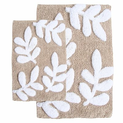 Joulon 2 Piece Bath Rug Set Color: Taupe / White