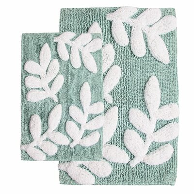 Joulon 2 Piece Bath Rug Set Color: Moonstone / White