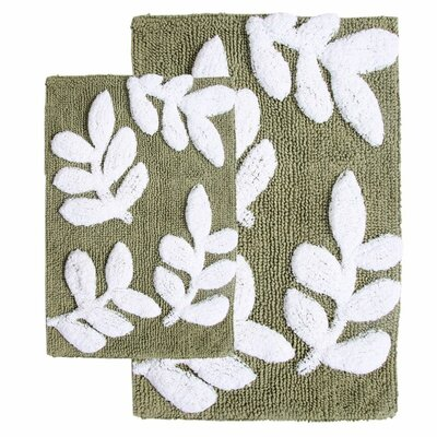 Joulon 2 Piece Bath Rug Set Color: Sage / White