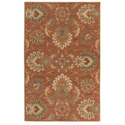 Gaither Hand-Woven Wool Burnt Orange Area Rug Rug Size: 5 x 8