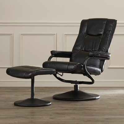 Soft Leather Reclining Office Chair and Ottoman Set Upholstery: Black