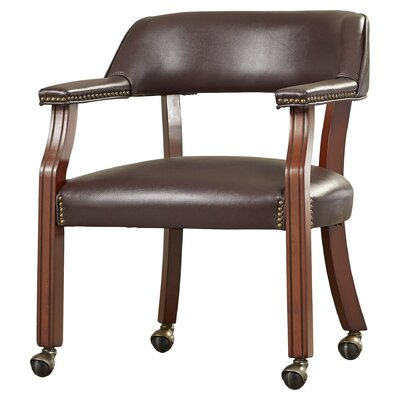 Evelyn Roberts Guest Barrel Arm Chair Upholstery: Burgundy, Casters: Yes