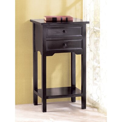 Berwick 2 Drawer End Table Finish: Black