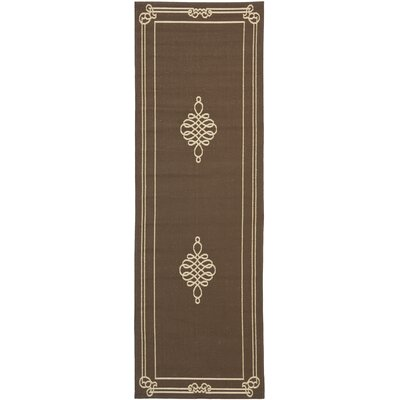 Alderman Chocolate / Cream Indoor / Outdoor Area Rug Rug Size: Runner 23 x 67