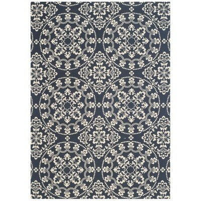 Charing Cross Hand-Loomed Navy / Natural Area Rug Rug Size: Rectangle 5 x 7