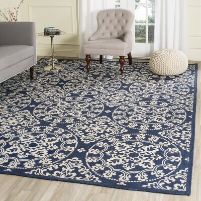 Charing Cross Hand-Loomed Navy / Natural Area Rug Rug Size: Round 6 x 6