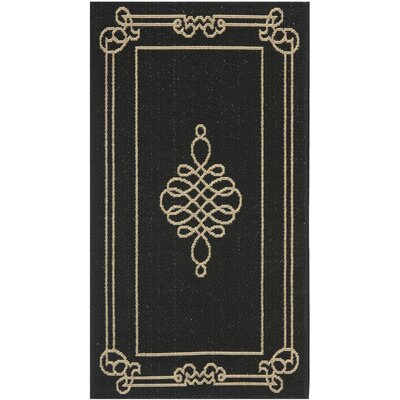 Octavius Black / Creme Indoor / Outdoor Area Rug Rug Size: Rectangle 2 x 37