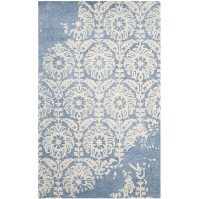 Fernville Hand-Tufted Light Blue/Ivory Area Rug Rug Size: 6 x 9