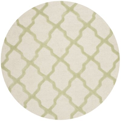 Gillam Hand-Tufted Ivory / Light Green Area Rug Rug Size: Round 4'