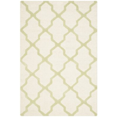 Gillam Hand-Tufted Ivory / Light Green Area Rug Rug Size: Rectangle 2' x 3'