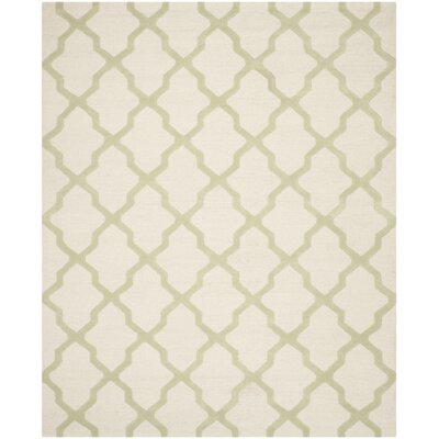 Gillam Hand-Tufted Ivory / Light Green Area Rug Rug Size: 76 x 96