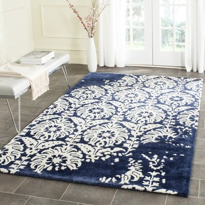 Fernville Hand-Tufted Navy / Ivory Area Rug Rug Size: Rectangle 26 x 4