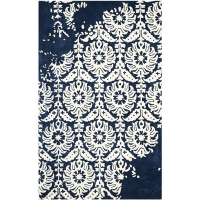 Fernville Hand-Tufted Navy / Ivory Area Rug Rug Size: 4 x 6