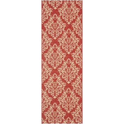 Octavius Red / Creme Indoor / Outdoor Area Rug Rug Size: Runner 23 x 10