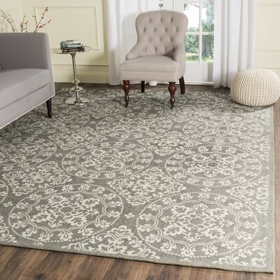 Charing Cross Hand-Loomed Grey/Natural Area Rug Rug Size: Square 6 x 6