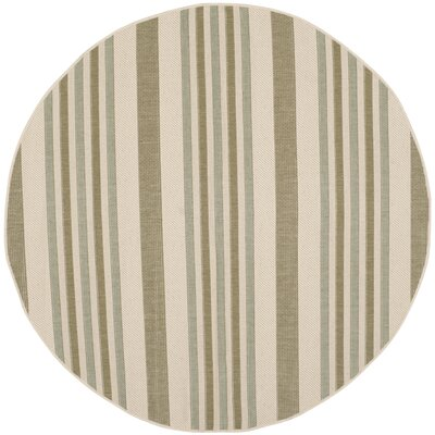 Octavius Beige / Green Indoor / Outdoor Area Rug Rug Size: Round 67