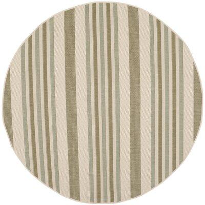 Alderman Beige / Green Indoor / Outdoor Area Rug Rug Size: Round 67