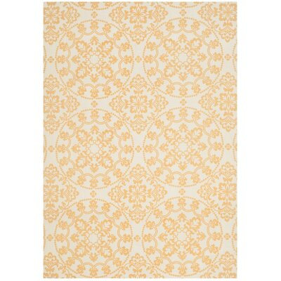 Charing Cross Hand-Loomed Natural/Gold Area Rug Rug Size: 5 x 7
