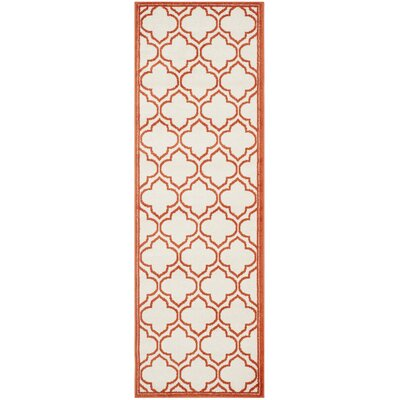Carman Ivory / Orange Indoor / Outdoor Area Rug Rug Size: Runner 23 x 7