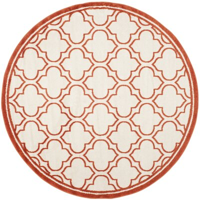 Carman Ivory / Orange Indoor / Outdoor Area Rug Rug Size: Round 5