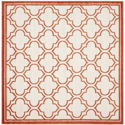 Carman Ivory / Orange Indoor / Outdoor Area Rug Rug Size: Square 7