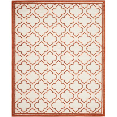 Carman Ivory / Orange Indoor / Outdoor Area Rug Rug Size: Rectangle 8 x 10