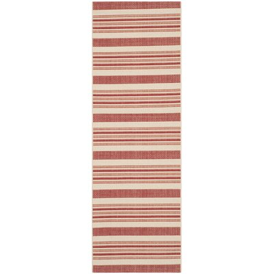 Alderman Beige / Red Indoor / Outdoor Area Rug Rug Size: Runner 23 x 67