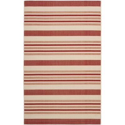 Octavius Beige / Red Indoor / Outdoor Area Rug Rug Size: Rectangle 9 x 12