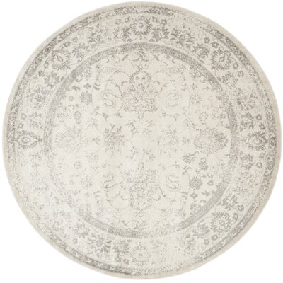 Aiken Ivory/Silver Area Rug Rug Size: Round 3