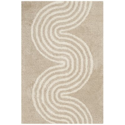 Petal Hand-Tufted Beige/Ivory Area Rug Rug Size: Rectangle 2 x 3