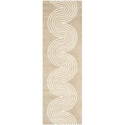 Petal Hand-Tufted Beige/Ivory Area Rug Rug Size: Runner 23 x 7