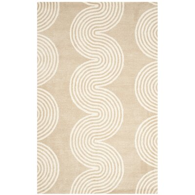 Petal Hand-Tufted Beige/Ivory Area Rug Rug Size: Rectangle 5 x 8