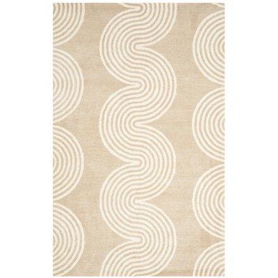 Petal Hand-Tufted Beige/Ivory Area Rug Rug Size: 5 x 8