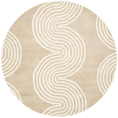Petal Hand-Tufted Beige/Ivory Area Rug Rug Size: Round 5