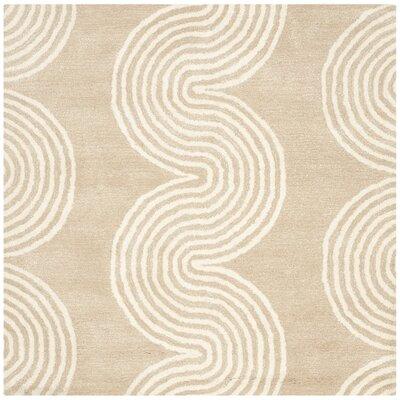 Petal Hand-Tufted Beige/Ivory Area Rug Rug Size: Square 5