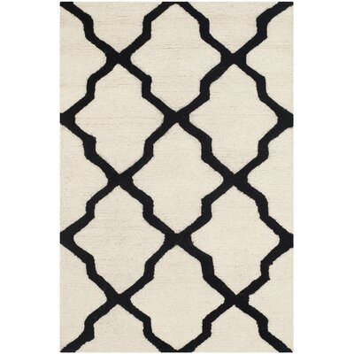 Gillam Hand-Tufted Wool Ivory/Black Area Rug Rug Size: Rectangle 26 x 4