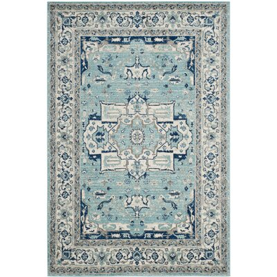 Driffield Turquoise / Ivory Area Rug Rug Size: Rectangle 4 x 6