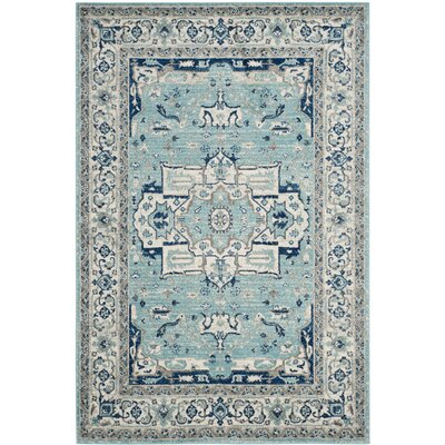 Driffield Turquoise / Ivory Area Rug Rug Size: 4 x 6