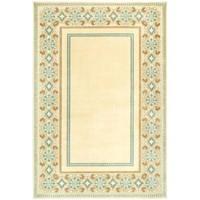 Taj Mahal Hand-Woven Cream Area Rug Rug Size: 53 x 76