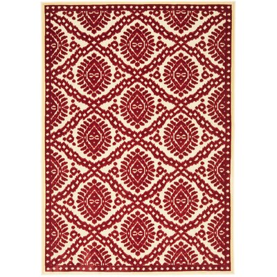 Hand-Woven Red Area Rug Rug Size: Rectangle 27 x 4