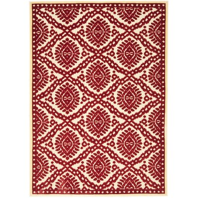 Hand-Woven Red Area Rug Rug Size: 53 x 76