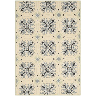 Childers Hand-Hooked Ivory / Blue Indoor / Outdoor Area Rug Rug Size: 5' x 7'