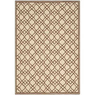 Childers Hand-Hooked Ivory / Dark Brown Indoor / Outdoor Area Rug