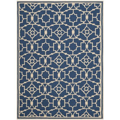 Childers Hand-Hooked Navy/Ivory Indoor/Outdoor Area Rug Rug Size: Rectangle 5 x 7