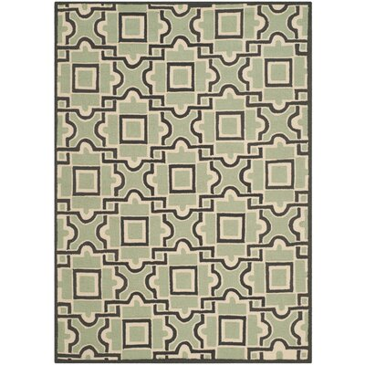 Childers Hand-Hooked Spa / Dark Brown Indoor / Outdoor Area Rug