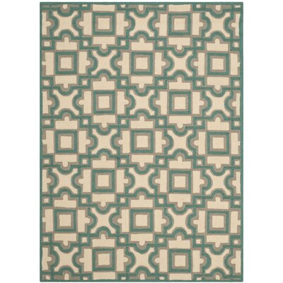 Childers Hand-Hooked Ivory / Aqua Indoor / Outdoor Area Rug