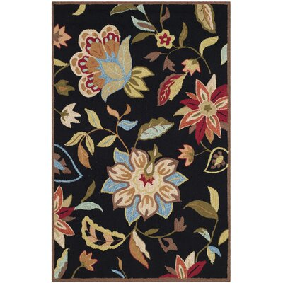 Childers Hand-Hooked Black / Purple Indoor / Outdoor Area Rug Rug Size: Rectangle 36 x 46